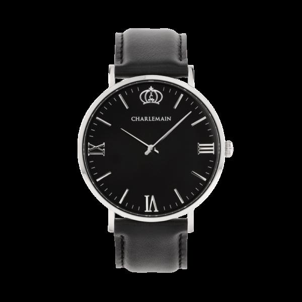 Damenuhr-Charlemain-Silber-black-Leder-black