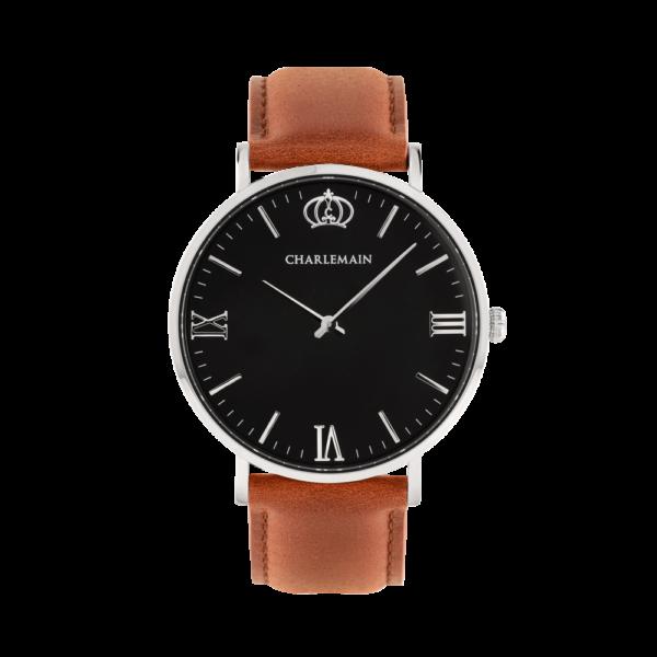 Damenuhr-Charlemain-Silber-black-Leder-brown