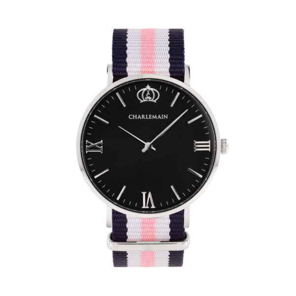 Damenuhr-Charlemain-Silber-black-Nylon-Blue-White-Pink