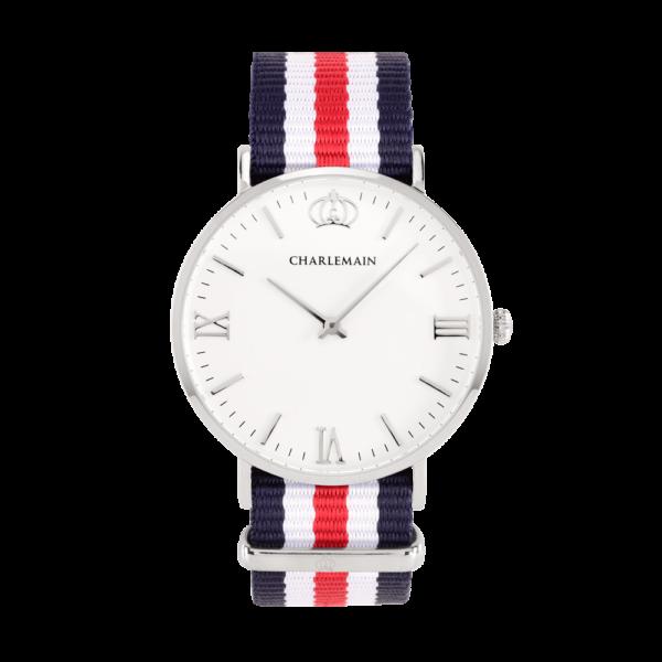 Damenuhr-Charlemain-Silber-white-Nylon-Blue-White-red