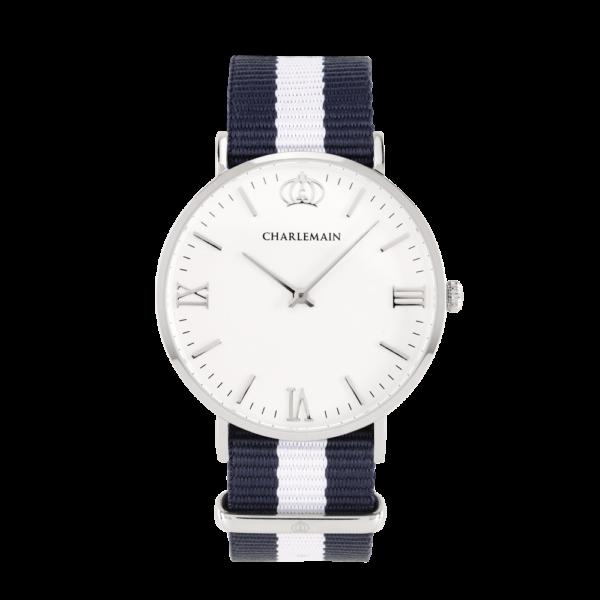Damenuhr-Charlemain-Silber-white-Nylon-Blue-white