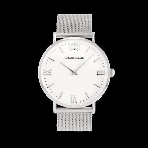 Damenuhr-Charlemain-Silber-white-mesh-silver