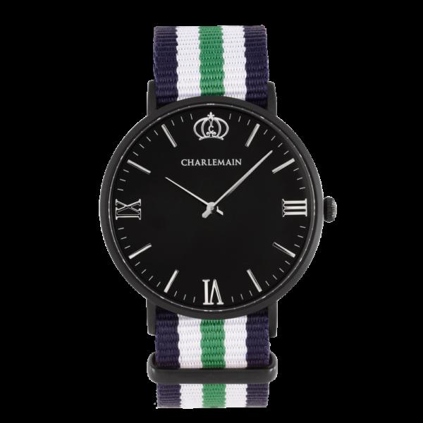 Herrenuhr-Charlemain-Black-Black-Nylon-Blue-Green-black