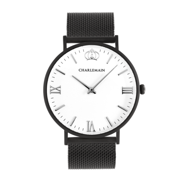 Herrenuhr-Charlemain-Black-White-Mesh-black