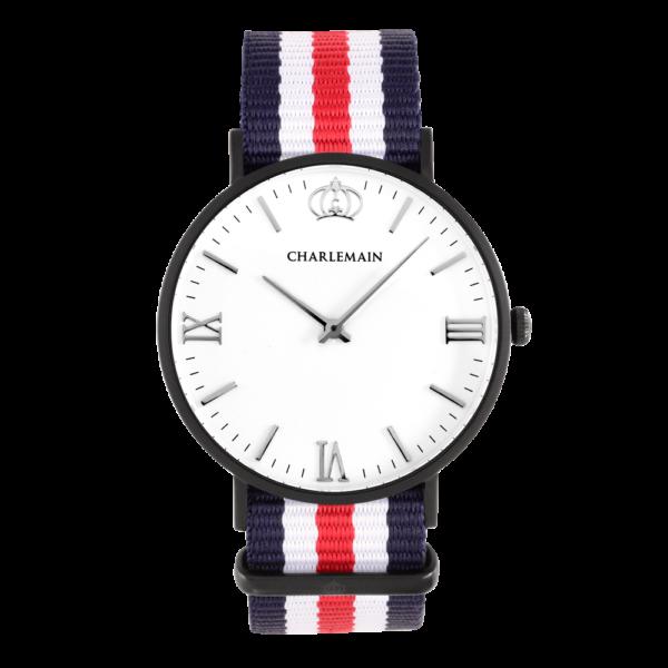 Herrenuhr-Charlemain-Black-White-Nylon-blue-red-black
