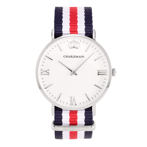 Men-Charlemain-silver-white-Nylon-Blue-red-silver