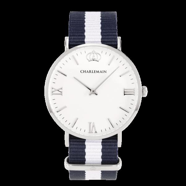 Herrenuhr-Charlemain-Silber-white-Nylon-Blue-white-silber
