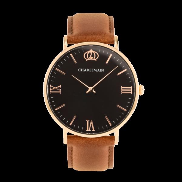 Herrenuhr-Charlemain-Rose-black-Leder-brown