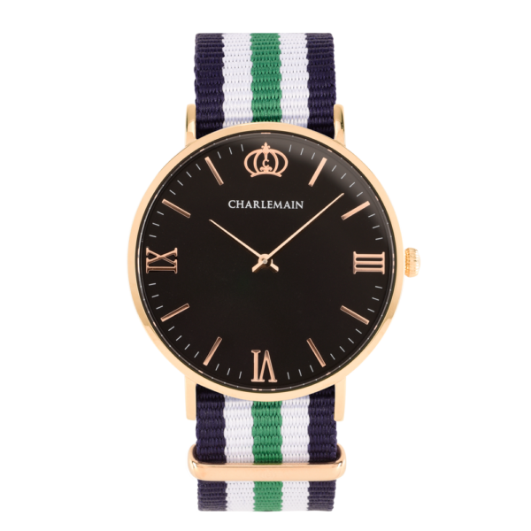 Men-Watch-Charlemain-Rosegold-Black-Nylon-Blue-green-rose